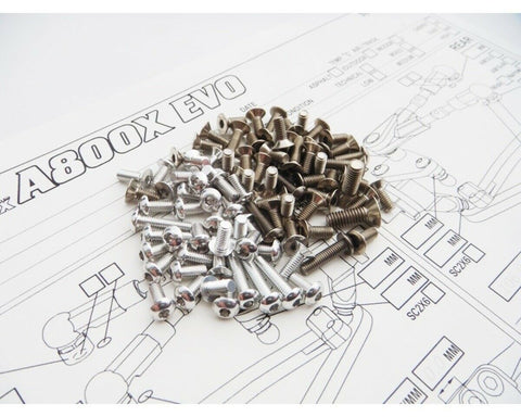 Hiro Seiko A800X EVO Titan Alum Hex Socket Screw Set Silver HS-48431