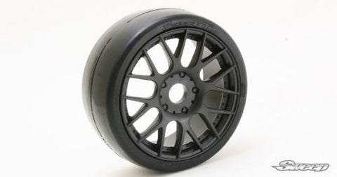 SP 1/8 Belted GT Tires Slicks mounted on Black Rims 17mm -Soft- 2 per pack R3