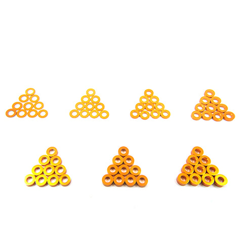 Yeah Racing Aluminum M3 Flat Washer 0.25 / 0.5 / 1 / 1.5 / 2 / 2.5 / 3mm 10pcs Set ORANGE YA-0390OR