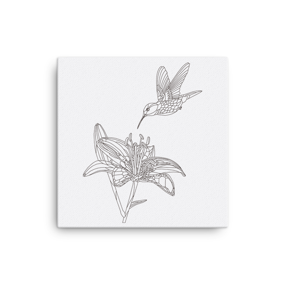 Bare Bones Lily and Hummingbird Canvas