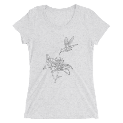 Women's Bare Bones Polygon Lily and Hummingbird T-Shirt