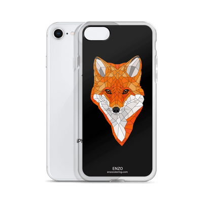 iPhone Black Bkgrd Fox Phone Case