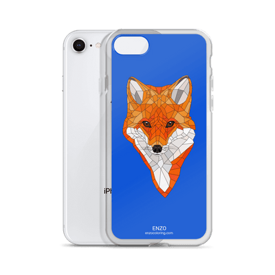 iPhone Royal Blue Bkgrd Fox Phone Case