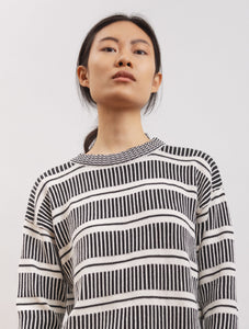 handmade crew neck sweater in organic cotton fabric with geometric pattern DAISY Black/White color