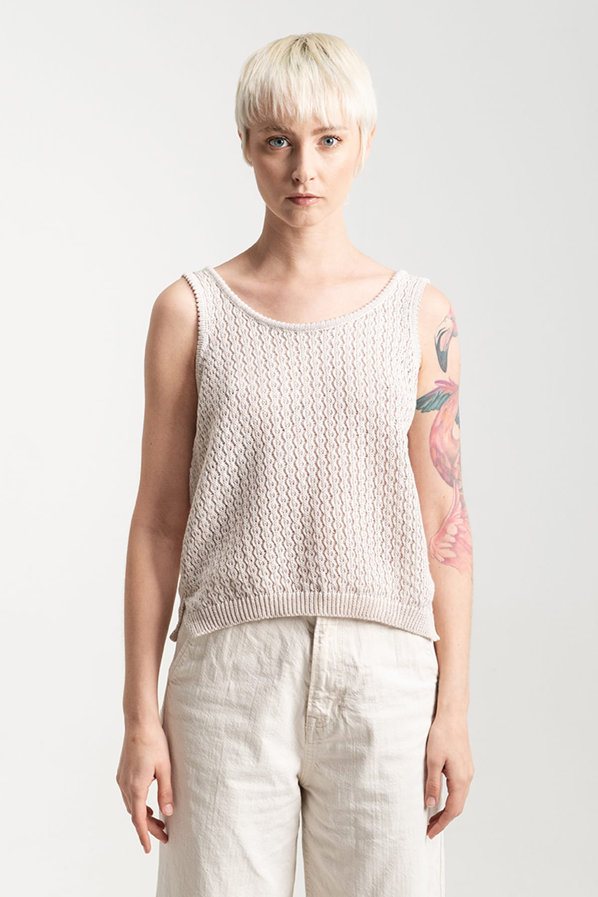 organic cotton top tank hand made in Italy. Sustainability fashion, eco material, gots certified