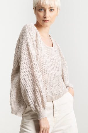 Organic cotton cardigan hand made in Italy. Sustainability fashion, eco material, gots certified