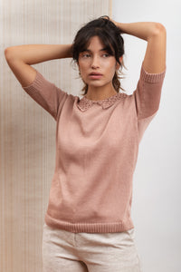 Short sleeves knitwear in Filo di Scozia fabric, organic fabric, natural fabrics, slow fashion, eco friendly, eco materials, sustainable fashion.