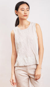 tank in organic cotton & steel fabric MARGHERITE white