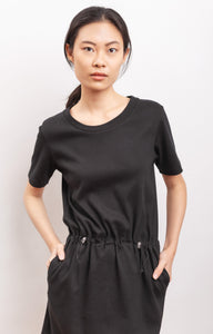 short sleeves dress in organic cotton fabric CROCUS black