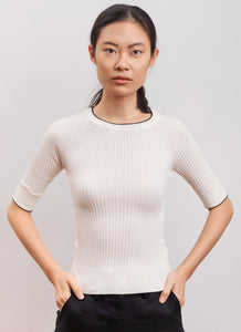 knitwear in organic cotton ASTER white