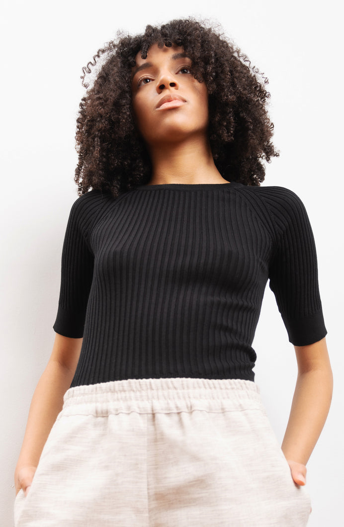 knitwear in organic cotton ASTER black
