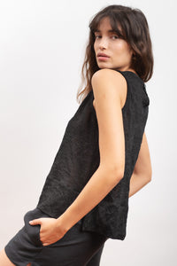 tank in organic cotton & steel fabric MARGHERITE black