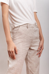 trouser in hemp, organic cotton fabric ELIANTO white/black