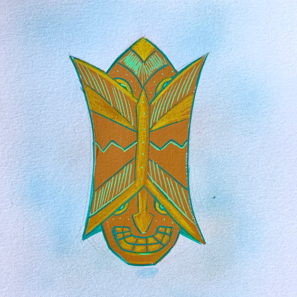 Two Faced Tiki Head Painting