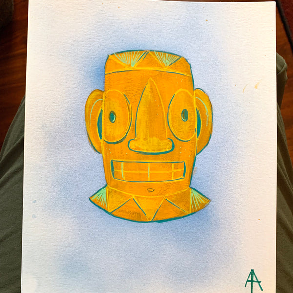 Mayan Tiki Head Painting