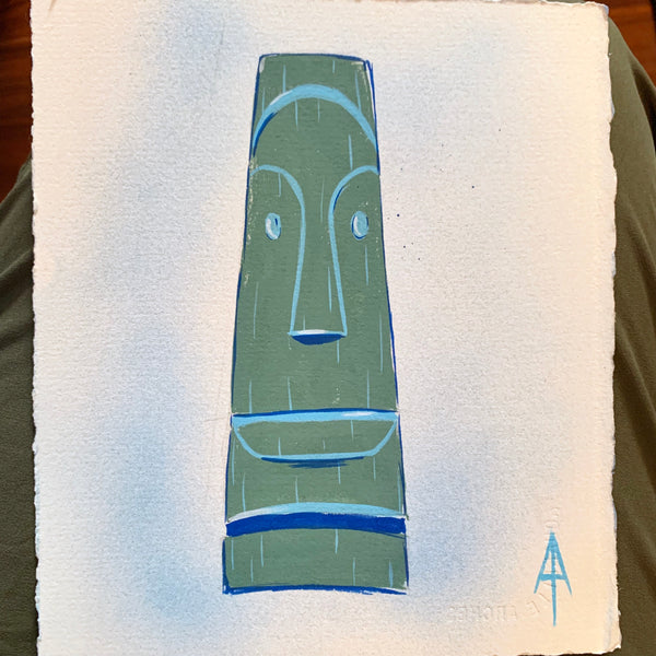 Long Moai Tiki Head Painting