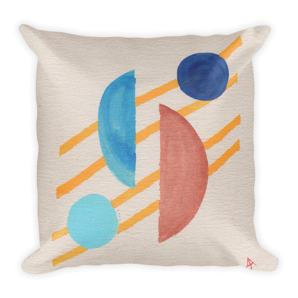 Mid-Century Modern Halves Blocks Pillow
