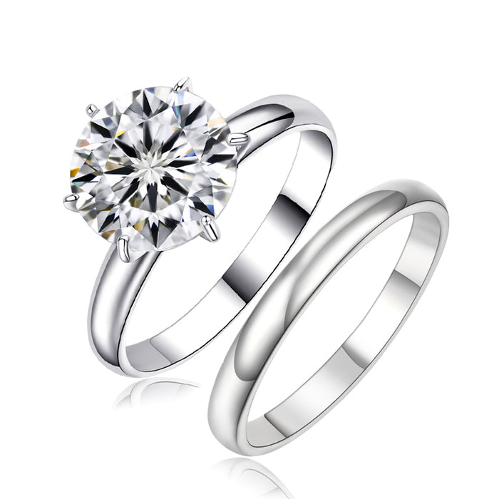 Round CZ Engagement Ring Set