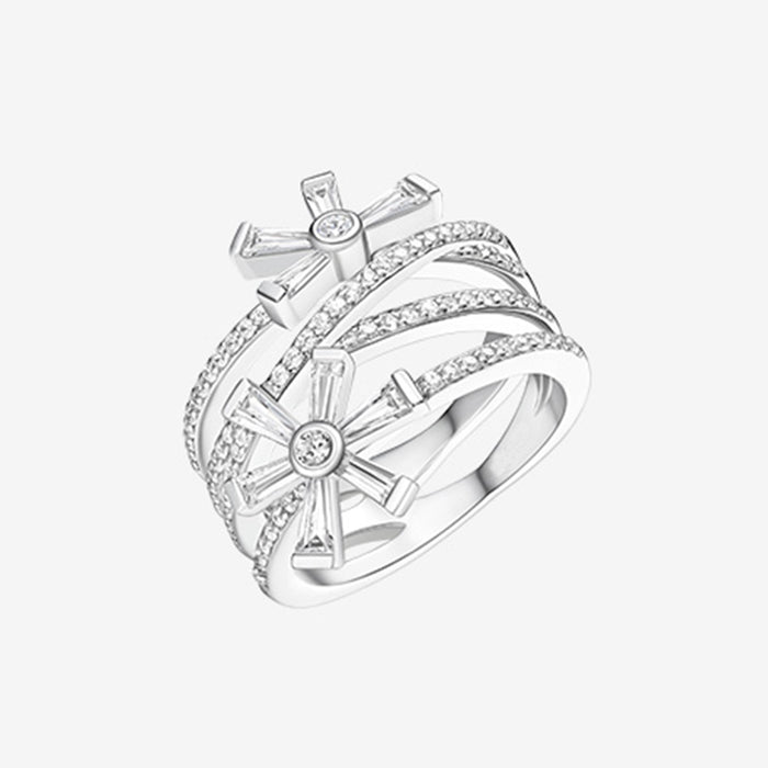 Snow Flake Baguette CZ Cross Ring