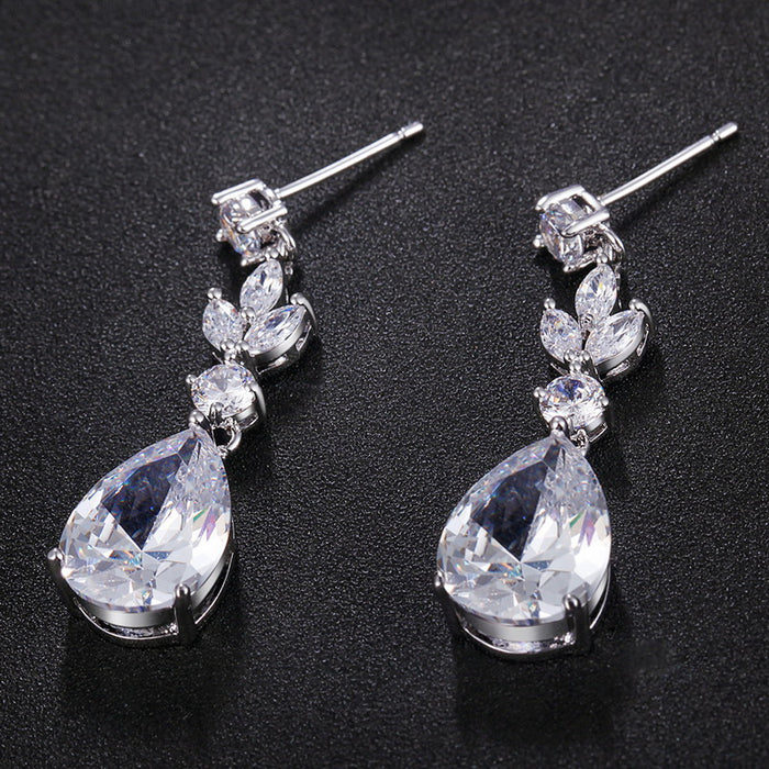 Marquise Teardrop CZ Dangle Earrings