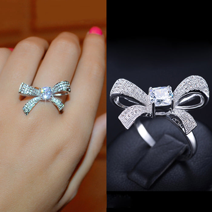 Tied Ribbon Bow Elegant Ring