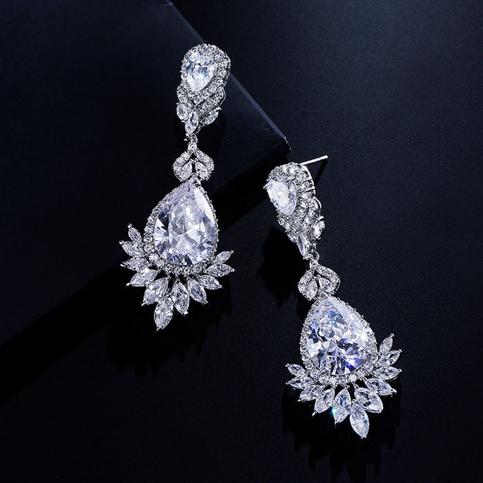 Luxury Teardrop CZ Chandelier Earrings