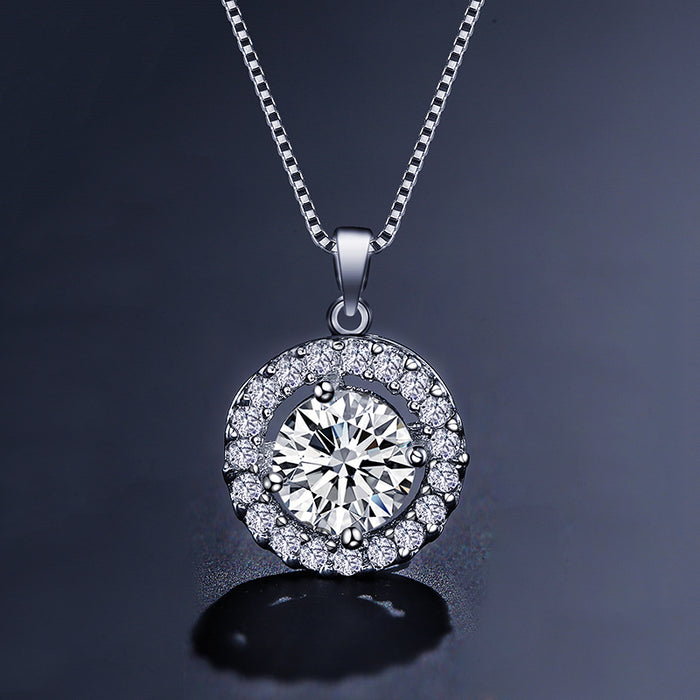 Halo Round CZ Pendant Necklace