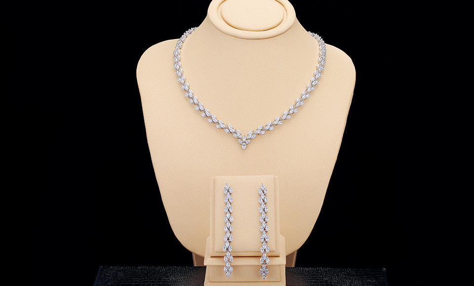 3 Rows Marquise CZ Bridal Jewelry Set