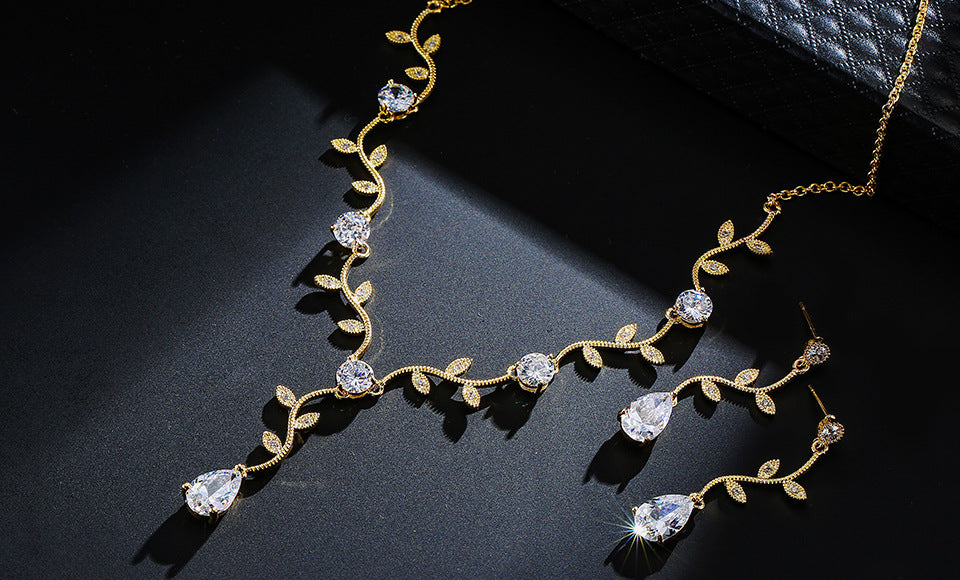 Leaves CZ Necklace Earring Jewelry Set