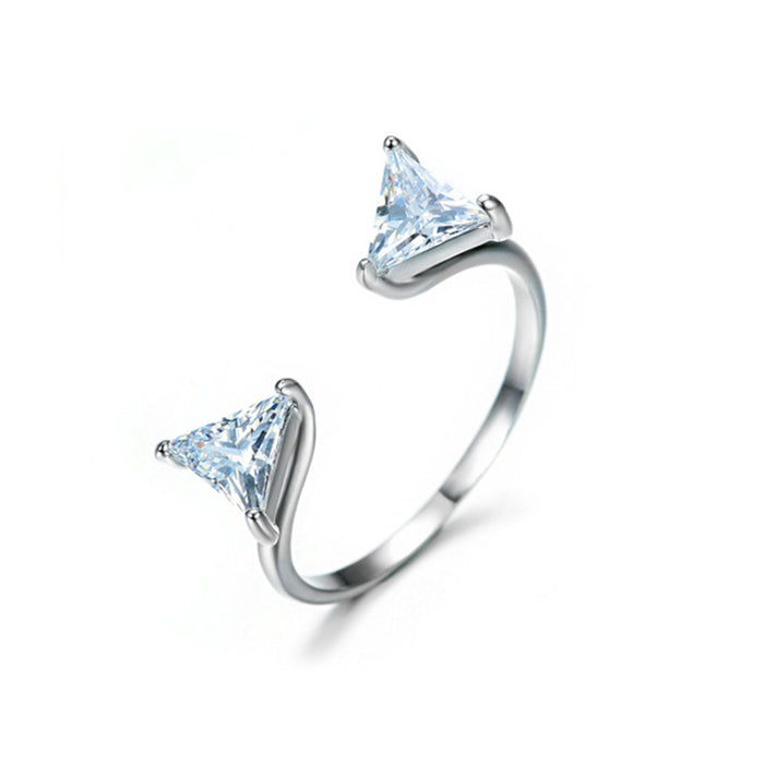 Double Triangle CZ Fashion Ring