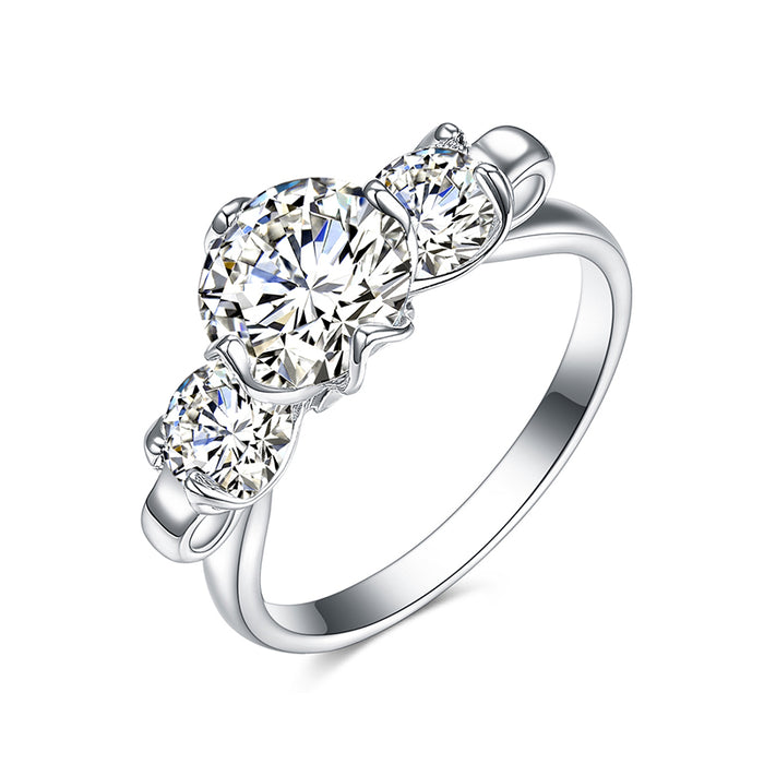 3 Stones Round CZ Engagement Ring