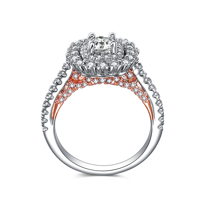 Two Tone Double Layers Engagement Ring