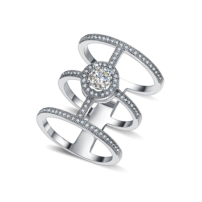 Luxury Rows Solitaire Full Finger Ring