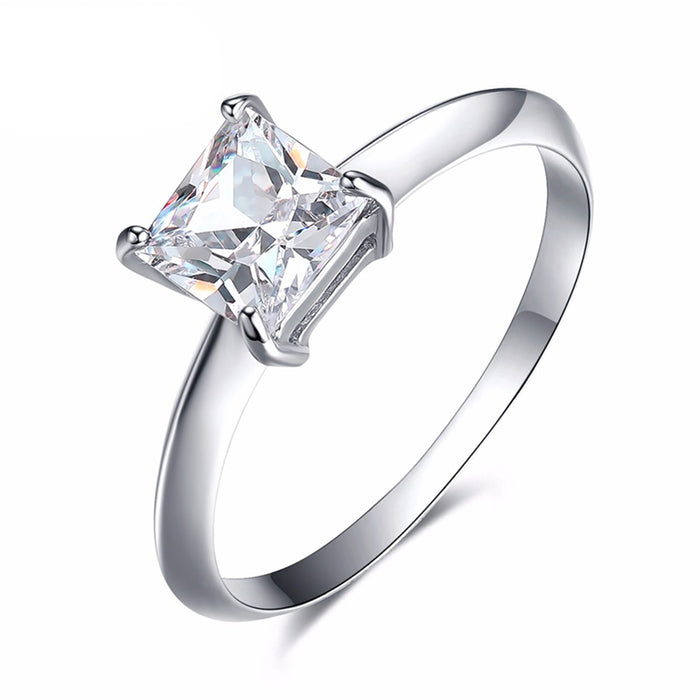 6mm Square CZ Engagement Ring
