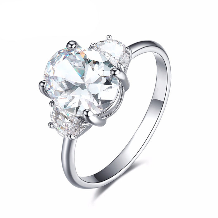 Oval and Half Moon CZ Engagement Ring