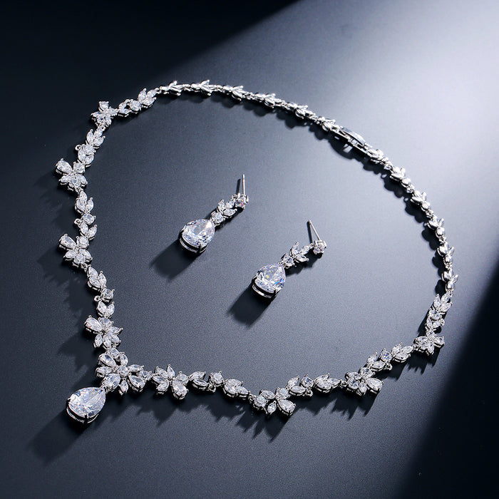 Luxury Floral CZ Necklace Earring Wedding Jewelry Set