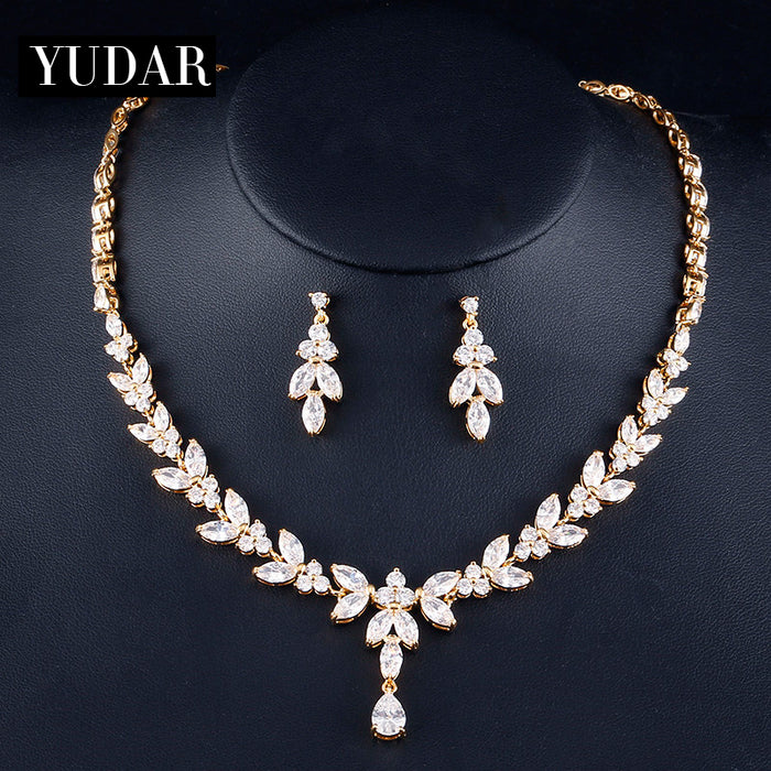 Luxury Floral CZ Necklace Earring Jewelry Set