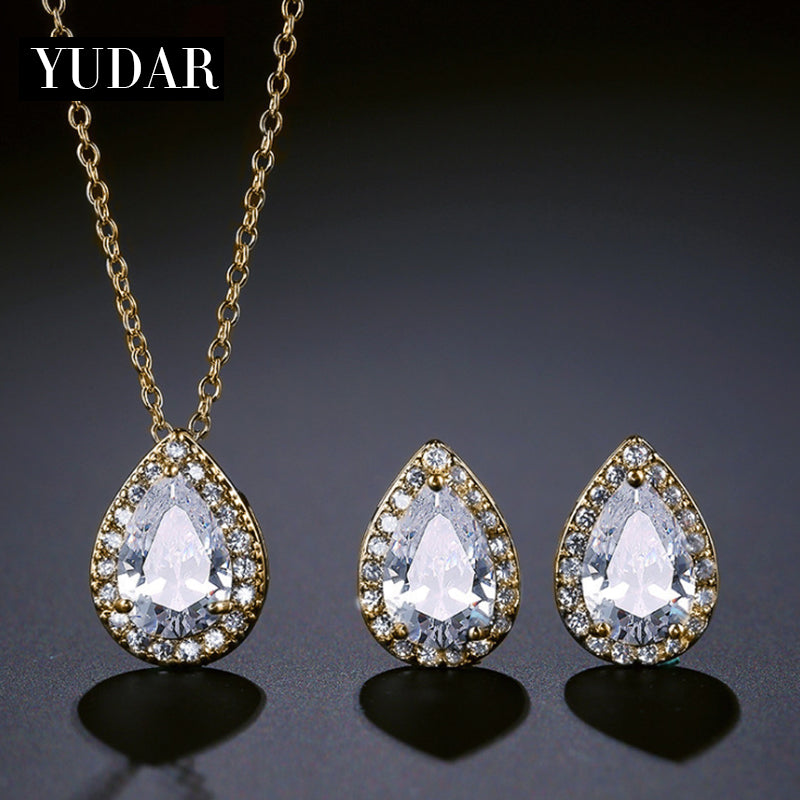 Teardrop CZ Necklace Earring Jewelry Set