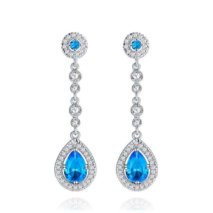 Aqua Teardrop Dangle Earrings
