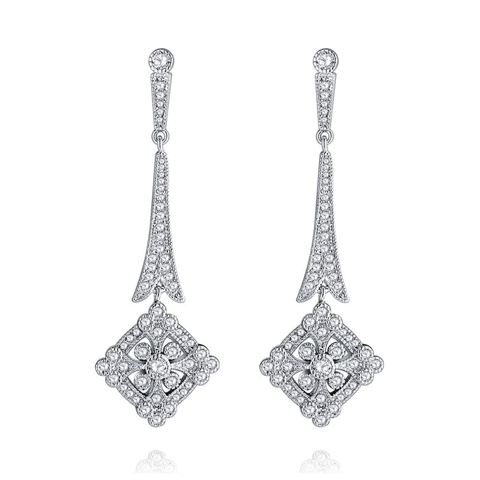 Art Deco Pave Cubic Zircon Chandelier Earrings
