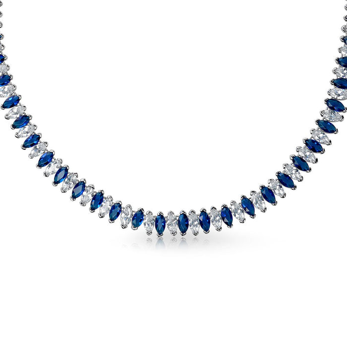 Blue Clear Mixed Marquise CZ Necklace