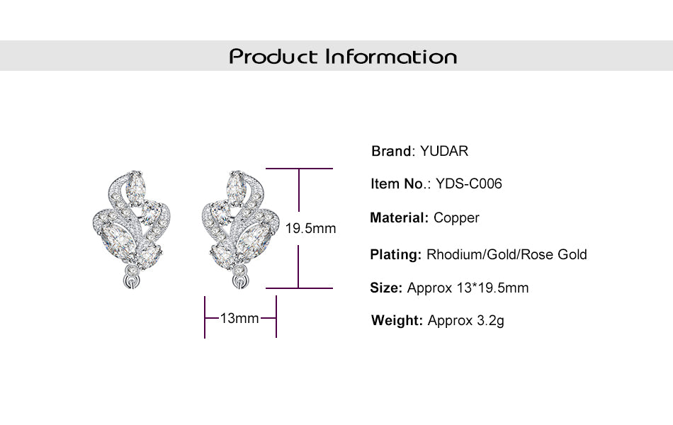 Plant Floral Top Parts Components for Earrings (6pcs/pack)