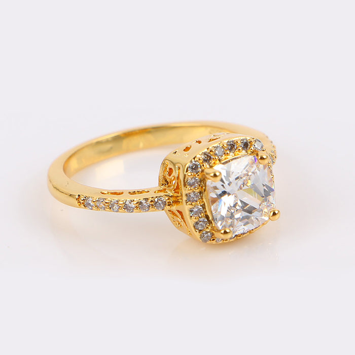 Gold Tone Cushion Bright Ring