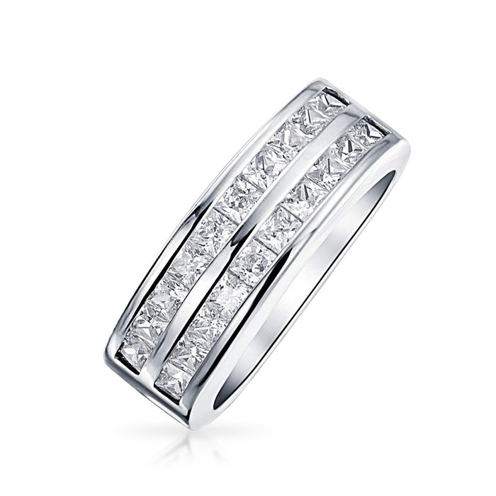 Two Rows Square CZ Vivid Ring