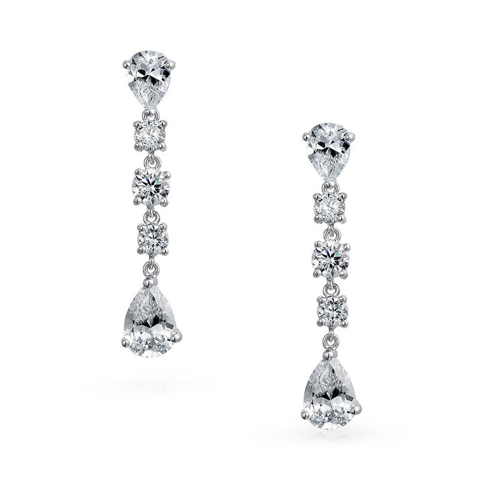 Mixed Shapes CZ Dangle Earrings
