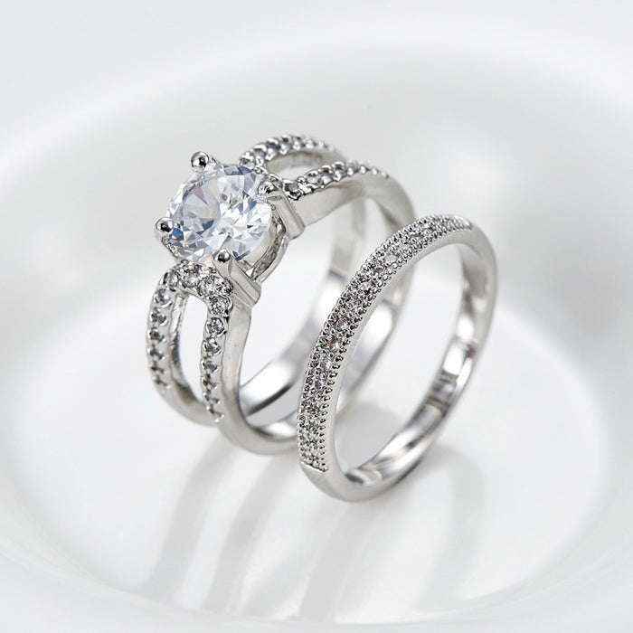 Always Mine Two Bands CZ Engagement Ring Set