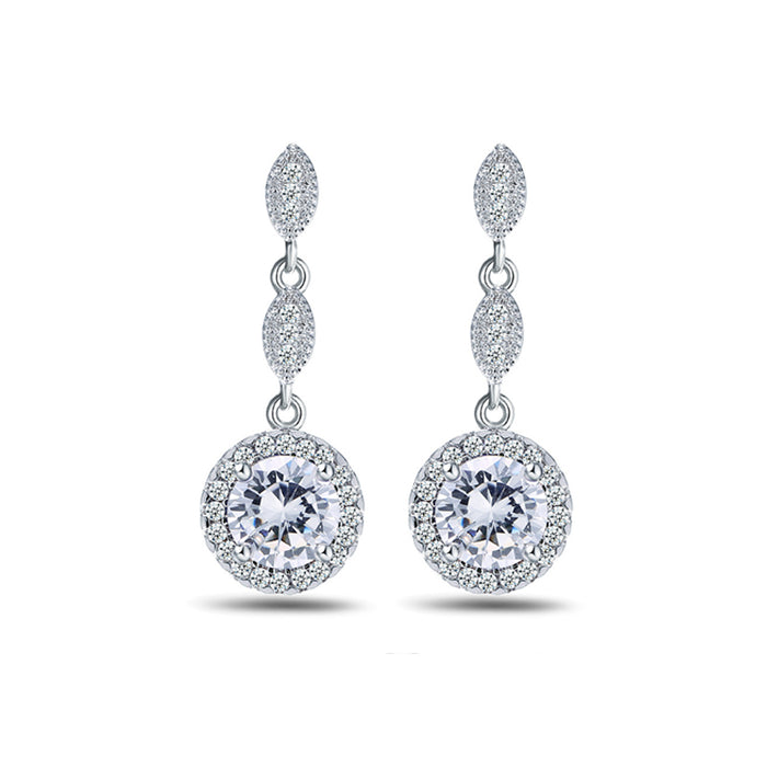Round CZ Halo Marquise Chandelier Earrings