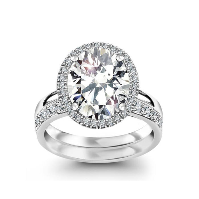 Oval CZ Bridal Ring Set