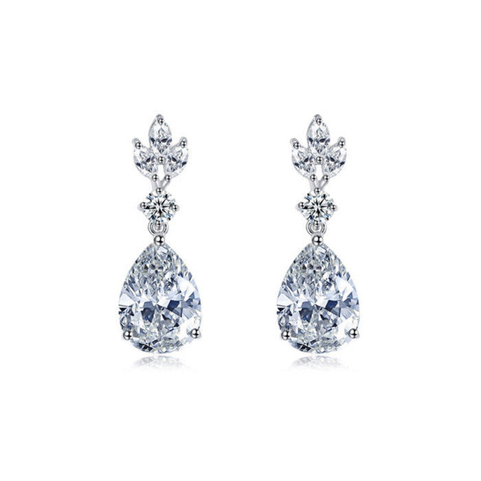 Floral Marquise and Teardrop CZ Earrings