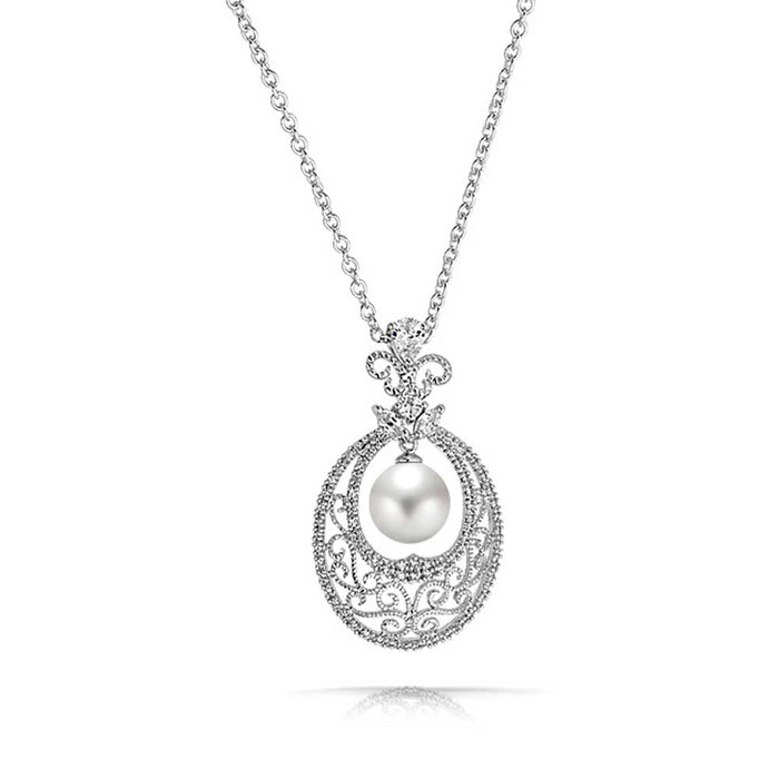 Oval Filigree Pearl Pendant Necklace